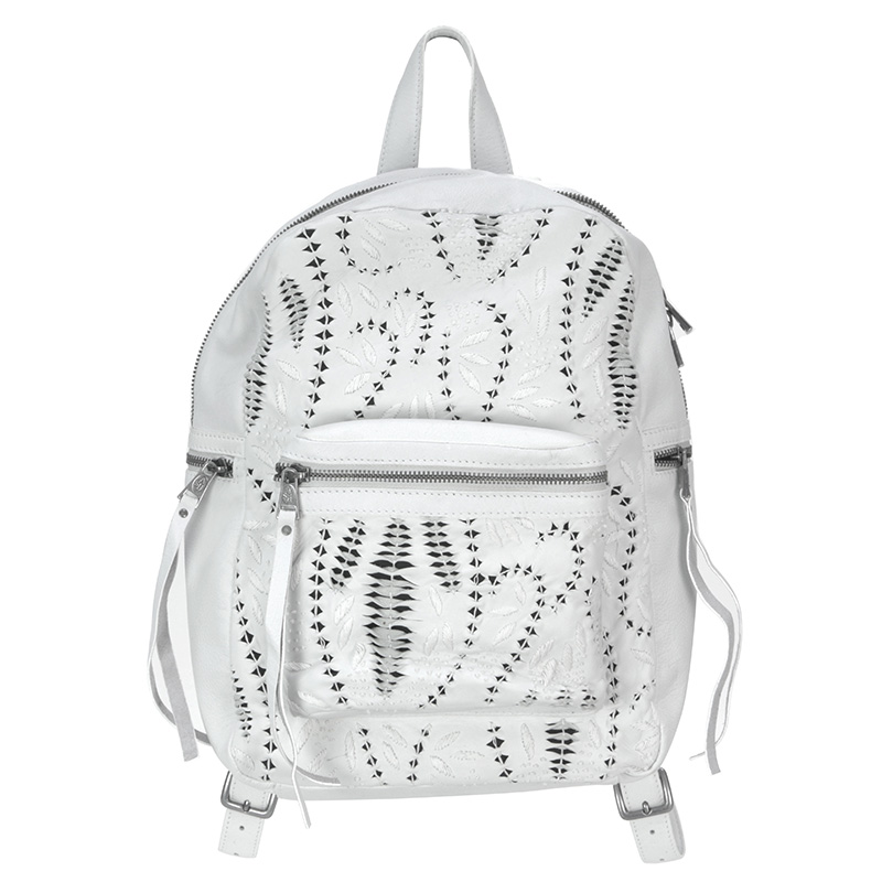 Ash Indica Womens Back Pack Handbag Off White Leather 126013 (102)