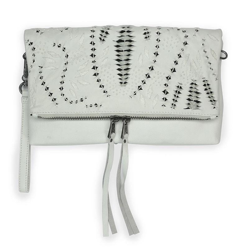 Ash Indica Womens Cross Body Handbag Off White Leather 126011 (102)
