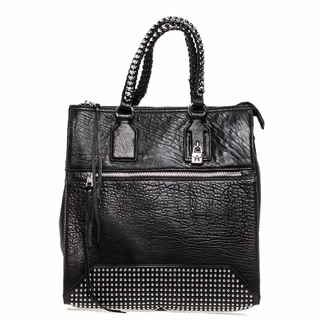 Ash Jagger Womens Tote Handbag Black Textured Leather  125066 (001)