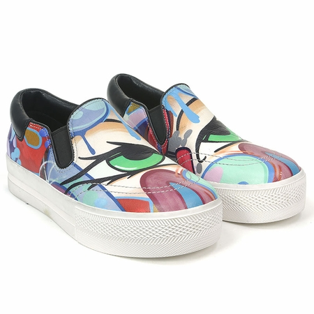 Ash Jam Bis Womens Slip On  Graffiti Print Leather 350395  (982)