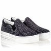 Ash Jam Womens Slip On  Smog Black Printed Suede 340539  (060)