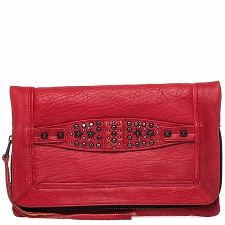 Ash Jax Womens Clutch Red Textured  Leather  125052 (600)