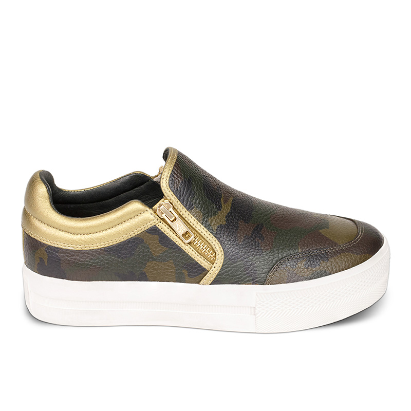 Ash Jordy Womens Sneaker Army and Antique Gold Leather 360008 (348)