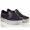 Ash Jungle Womens Slip On  Graphite Black Distressed Metallic Leather 340546 (061)