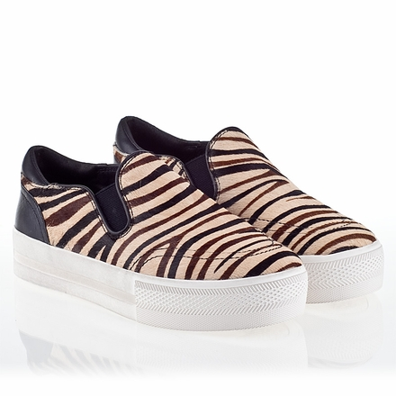 Ash Jungle Womens Slip On  Sneaker  Cream Zebra Hair Calf 340010 (102)