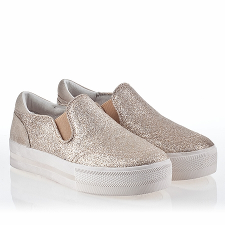 Ash Jungle Bis Womens Slip On  Sneakers Platine Glitter 340279 (071)