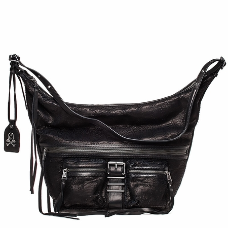 Ash Maze Womens Hobo Handbag Black Deer Cut Leather  125059 (001)