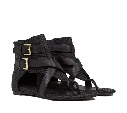 Ash  Onyx Bis Womens Black Snake Leather Wedge Sandal  350190 (002)