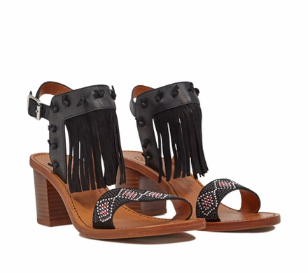 Ash  Patchouli Womens Black Leather and Suede Beaded Fringe Sandal  350194 (002)
