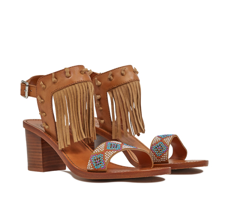 Ash  Patchouli Womens New Nude Leather and Chamois Suede Beaded Fringe Sandal  350194 (278)