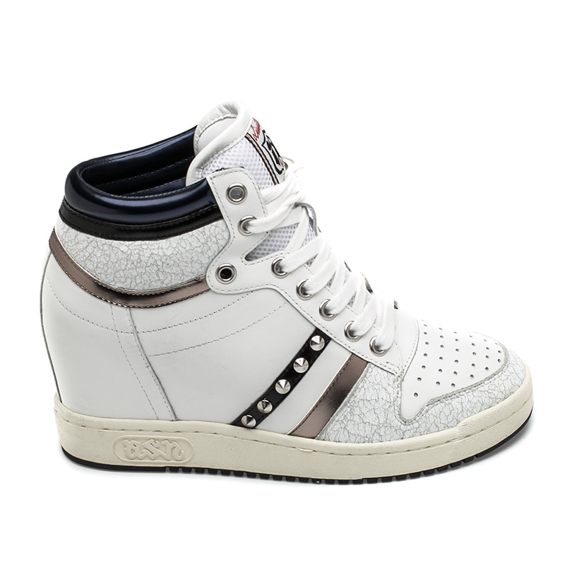 Ash  Prince Womens Wedge Sneaker White Multi Leather  360310 (113)