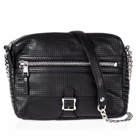 Ash Riley Womens Crossbody Black Perforated Leather  124021 (001)
