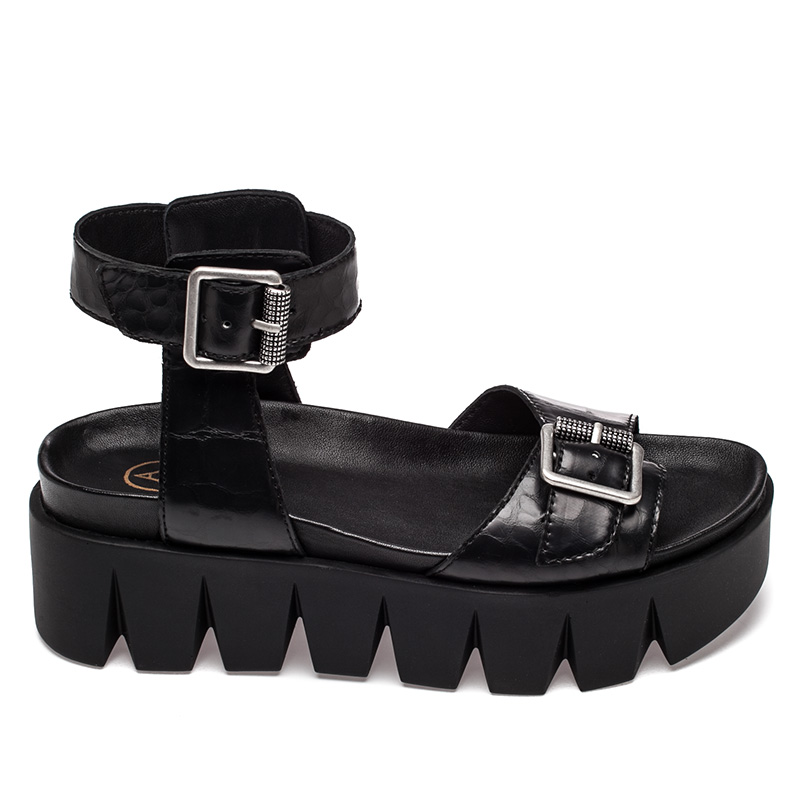 Ash  Rocking Womens Black Leather Sandal  360076 (001)