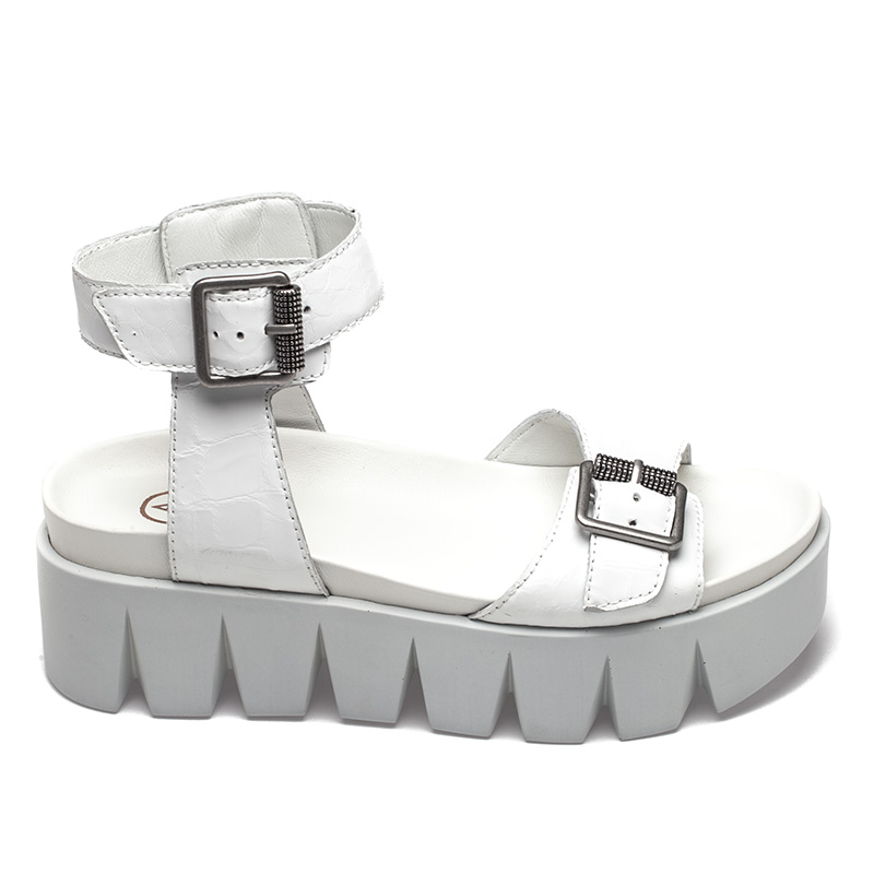 Ash  Rocking Womens White Leather Sandal  360076 (100)
