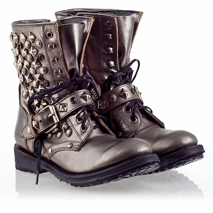 Ash Ryanna  Womens Stud Boot Piombo Leather 330352 (013)