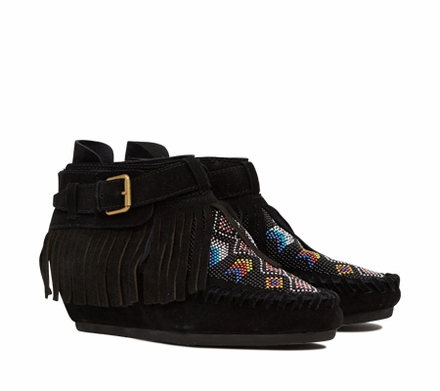 Ash Serpico Womens Beaded Fringe Boot Black Suede  350107 (001)