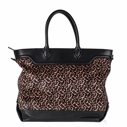 Ash Smith Womens Tote Black Smog Animal Print Hair Calf  and Leather  124046 (005)