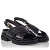 Ash  Sue Womens Black Croc Leather Platform Sandal  350209 (001)