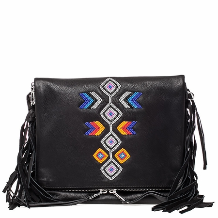 Ash Talulla Womens Beaded Crossbody Black Leather  125038 (001)
