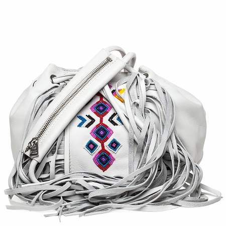 Ash Talulla Womens Beaded Draw String Bag Off White Leather  125037 (102)
