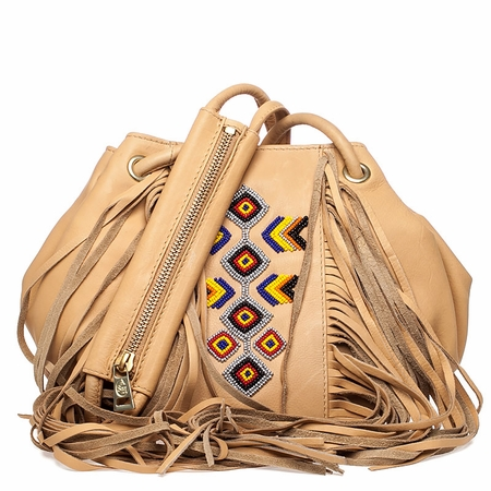 Ash Talulla Womens Beaded Draw String Handbag Tan Leather  125037 (105)