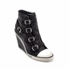 Ash Thelma Womens Wedge Sneaker Black Leather 340026 (001)