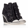 "<font size=""2"" color=""red"">NEW</font><p>Ash Thelma Womens Wedge Sneaker Black Leather 340551 (001)"