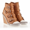 Ash Thelma Womens Wedge Sneaker New Nude Leather 340026 (299)