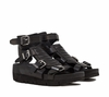 Ash  Tribal Womens Wedge Sandal  Black Leather 350118 (002)