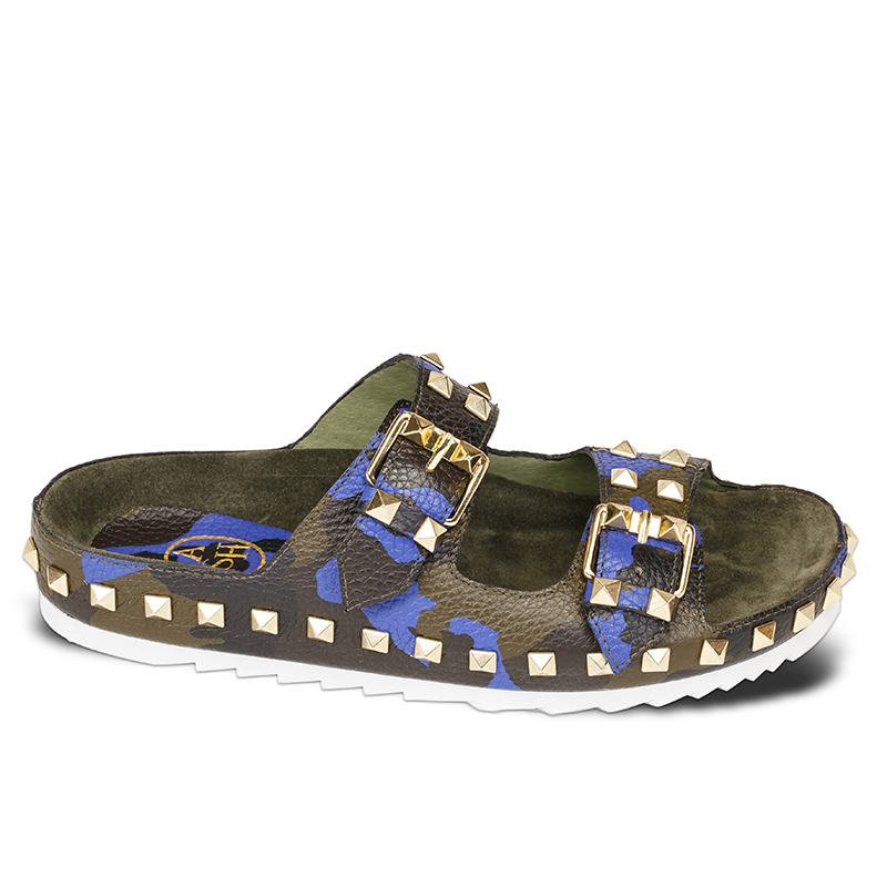 Ash Utopia Womens Desert Sapphire Military Camo Tumbled Leather Sandal  360164  (475)