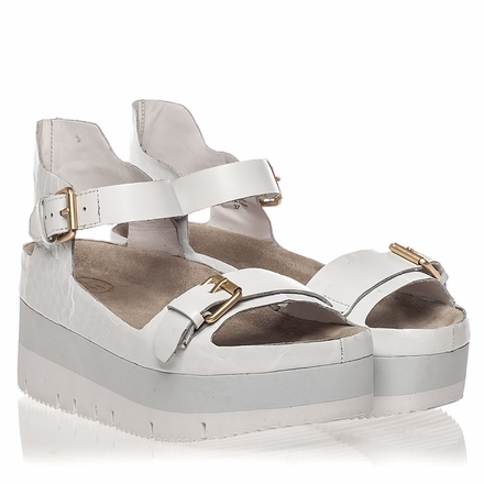 Ash  Vera  Womens White Croc Print Leather Sandal  350214 (113)