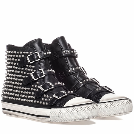 Ash Vicious Sneaker Black Leather Antique Silver Studs 350483 (981)
