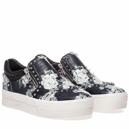 Ash Womens Jasmin Sneaker Black Floral Snake Print Leather 350315 (978)