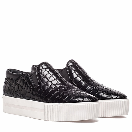 Ash Womens Karma Sneaker Black Croco Print Leather 350413 (965)