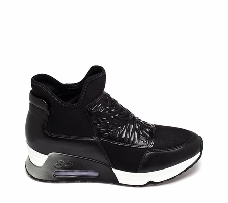 Ash Womens Lazer Sneaker Black Leather and Black Fabric 360302 (964)