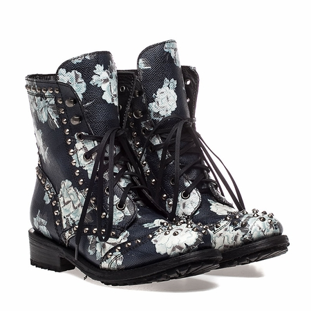 Ash Womens Rare Lace Up Boot Floral Snake Print Leather 350318 (003)