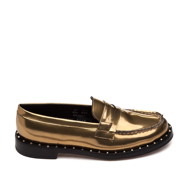 Ash Xenos Bis Womens Loafer Antique Gold Metallic Leather 360401 (713)