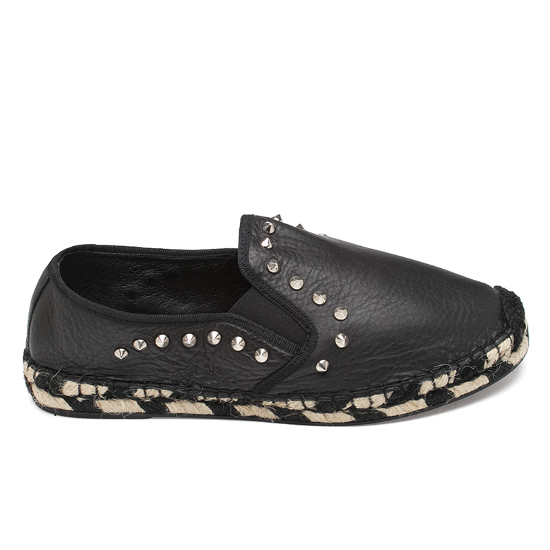 Ash Zen Womens Black Leather Espadrille  360126  (001)