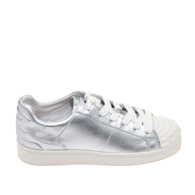 Crack Silver Leather Sneaker