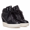 Ash  Azimut Womens Wedge Sneaker Black Quilted Leather  350342 (001)