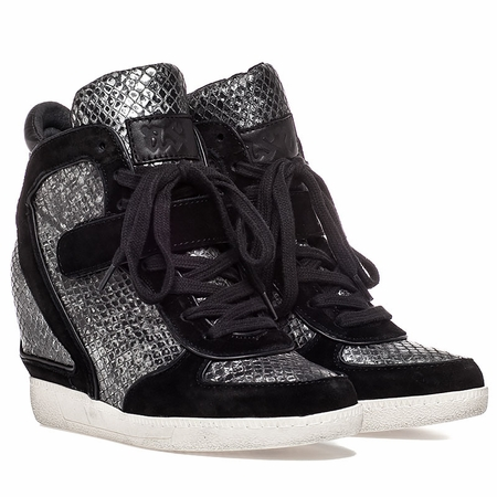 "<font size=""2"" color=""red"">NEW</font><p>Ash  Brendy Womens Wedge Sneaker Black Suede & Pewter Snake Print Leather  350351 (011)"