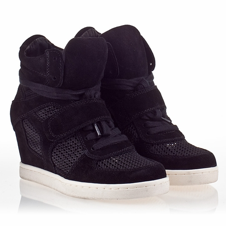 "<font size=""2"" color=""red"">NEW</font><p>Ash  Cool  Womens Wedge Sneaker Black Suede and Black Mesh 340264 (002)"