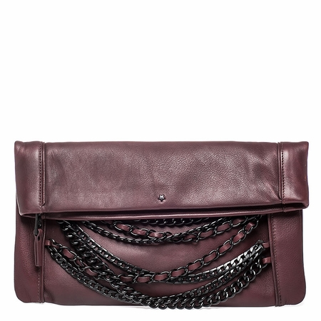 Ash Domino Womens Chain Clutch Handbag Dark Wine Leather  125070 (641)