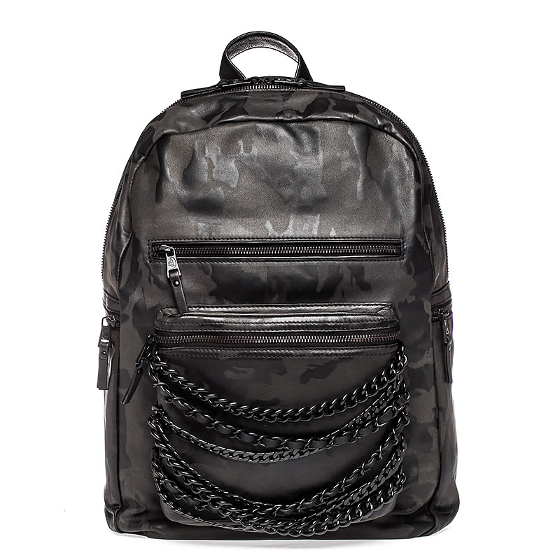 Ash Domino Womens Chain Large Backpack Black Camo Leather  125077 (990)
