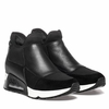 "<font size=""2"" color=""red"">NEW</font><p>Ash Womens Lazer  Sneaker Black Leather and Black Fabric 350600 (964)"