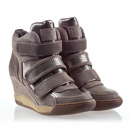 Ash Alex Bis Womens Wedge Sneaker Piombo Leather/Stone Suede  330439 (038)