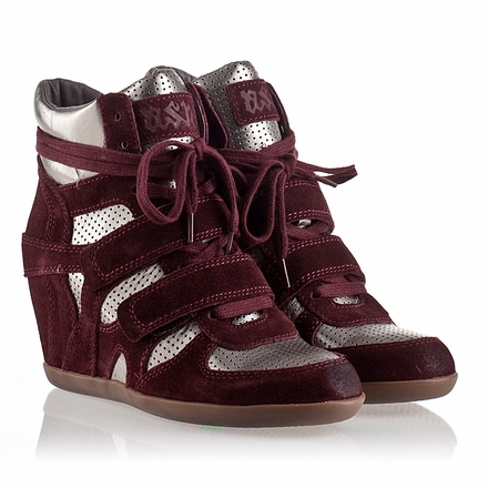 Ash Bea Womens Wedge Sneaker Prune Suede/Piombo Leather 330282 (505)