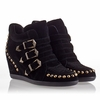 Ash Bobos Womens Wedge Sneaker Black Suede 330309 (001)