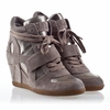 Ash Bowie Womens Wedge Sneaker Piombo Leather/Stone  Suede 330305 (038)