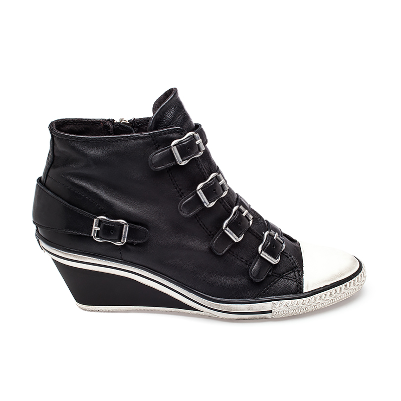 Ash  Genial Wedge Sneaker Black Leather 330147